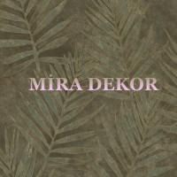 ARB67531 Kahverengi Zeminli Mavi Yapraklı Parlak Lüks Amerika Duvar Kağıdı
