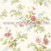 AL13691 parlak beyaz zeminli pembe çiçekli duvar kağıdı