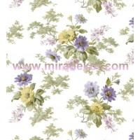AL13692  bej zeminli lila pembe çiçekli duvar kağıdı