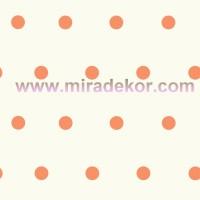 CHR11715 Beyaz Zeminli Turuncu Puanlı Duvar Kağıdı