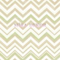 HAS47295 Kahverengi bej yeşil beyaz zikzak desenli duvar kağıdı