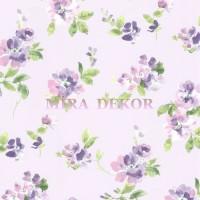 HAS54596 Lila zeminli mor pembe beyaz çiçekli duvar kağıdı
