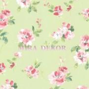HAS54597 Yeşil zemin pembe beyaz çiçekli duvar kağıdı