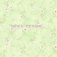 HAS54637 Yeşil zeminli pembe beyaz çiçekli duvar kağıdı