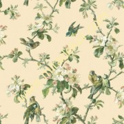 QE58322 kuşlu  çiçekli Lüks Amerika duvar kağıdı
